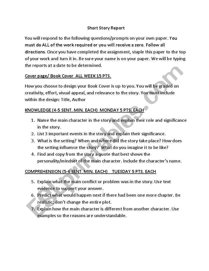 English worksheets: Short Story Report (1 week)