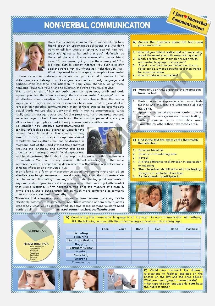 NON-VERBAL COMMUNICATION worksheet
