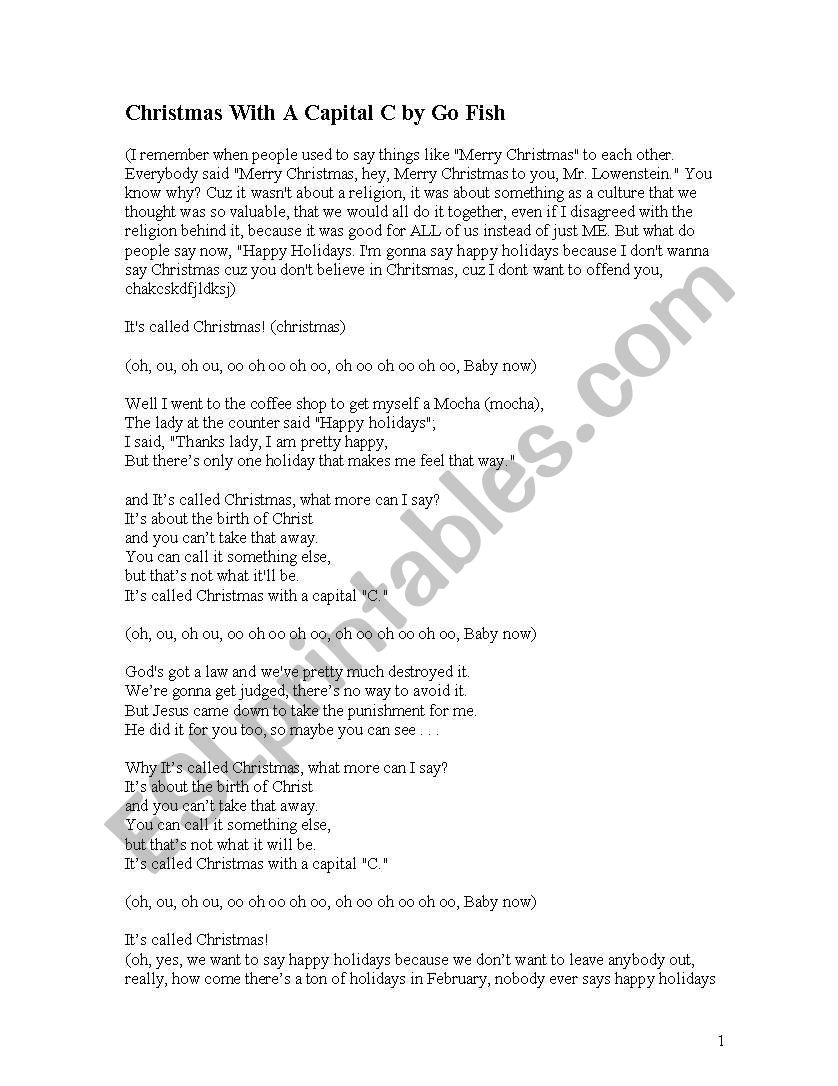 Christmas With A Capital C.English Worksheets Christmas With A Capital C