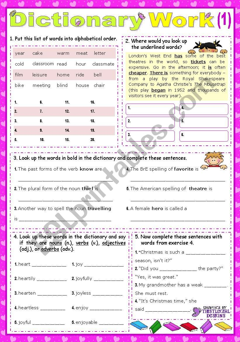 Working with the Dictionary 1  (for lower intermediate students)