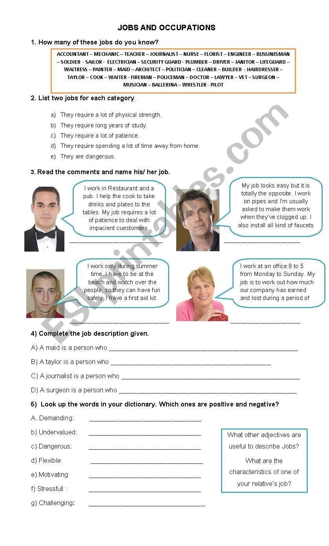 Job description - ESL worksheet by johnsdesk