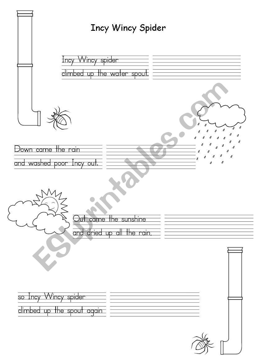 Incy Wincy Spider worksheet