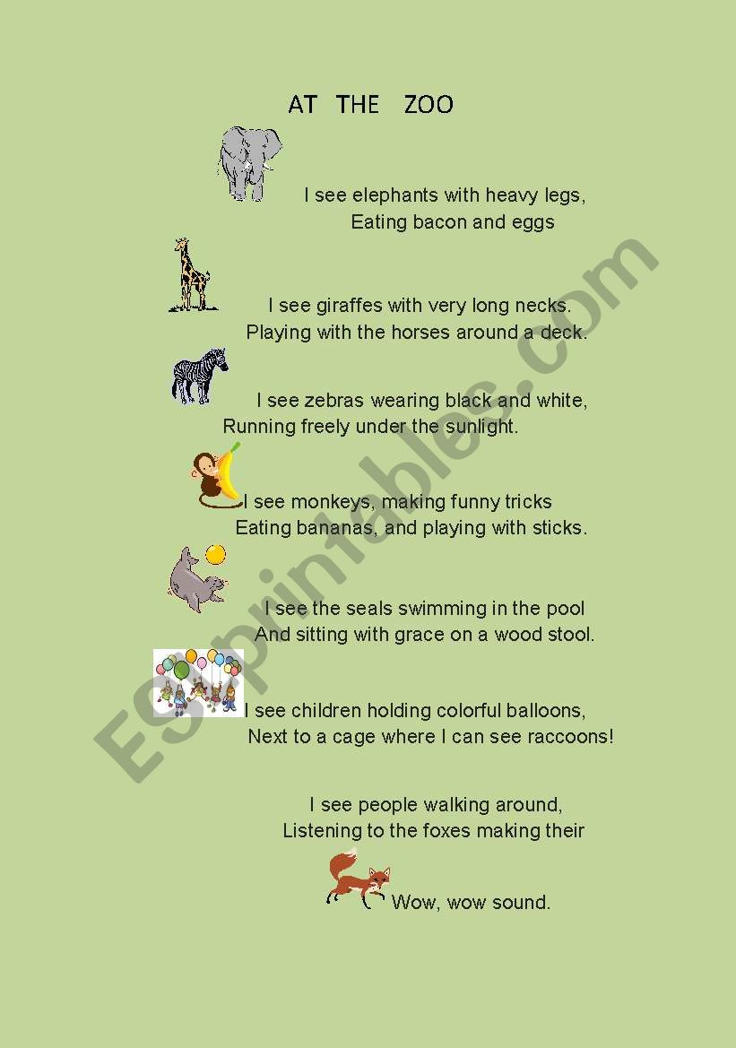 ANIMAL POEM worksheet