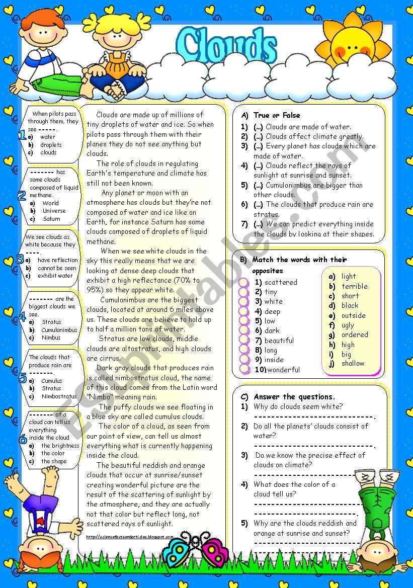 CLOUDS (B&W+KEY included) worksheet
