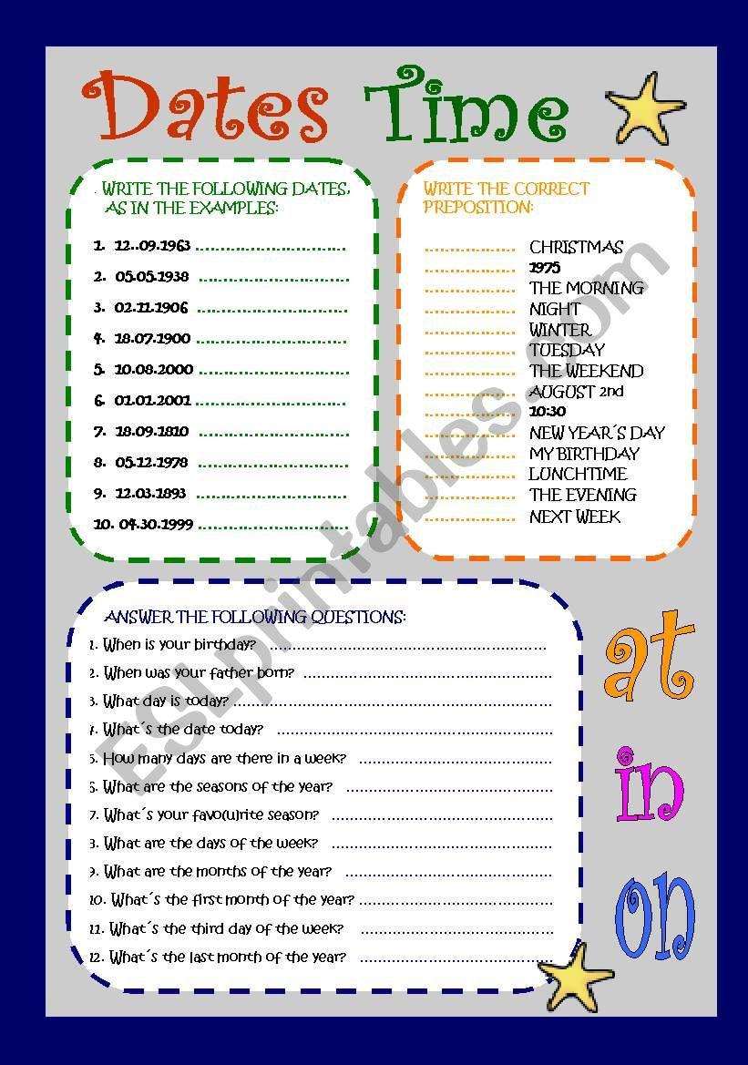 time-dates worksheet