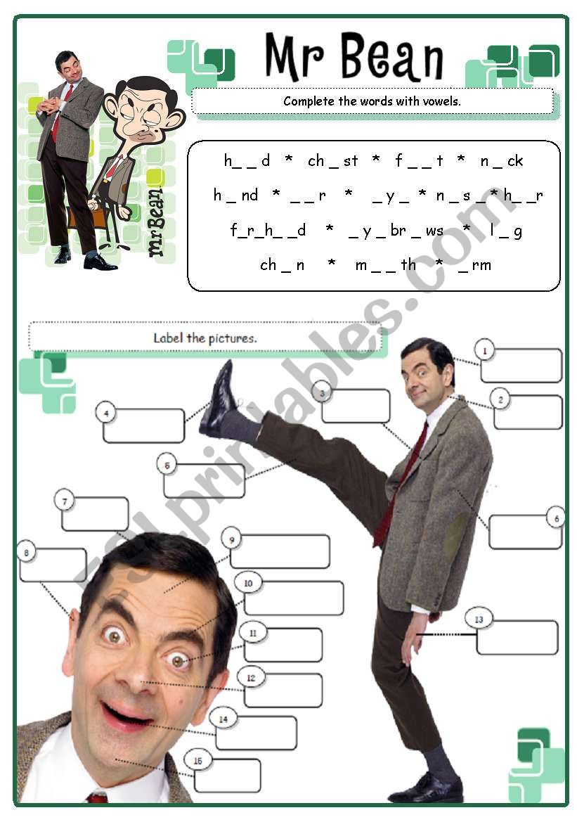 Mr Bean - body parts  worksheet