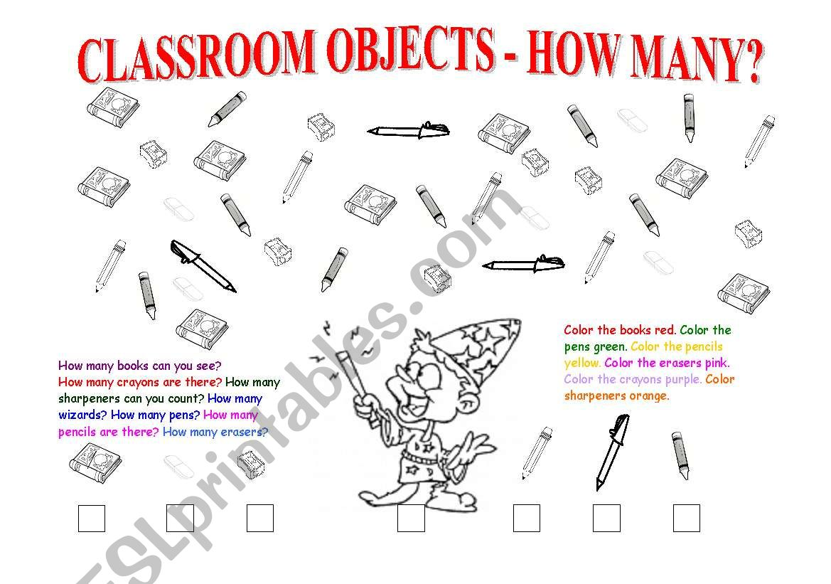 Classroom Objects/ Colors/ How Many/ Numbers 1-10