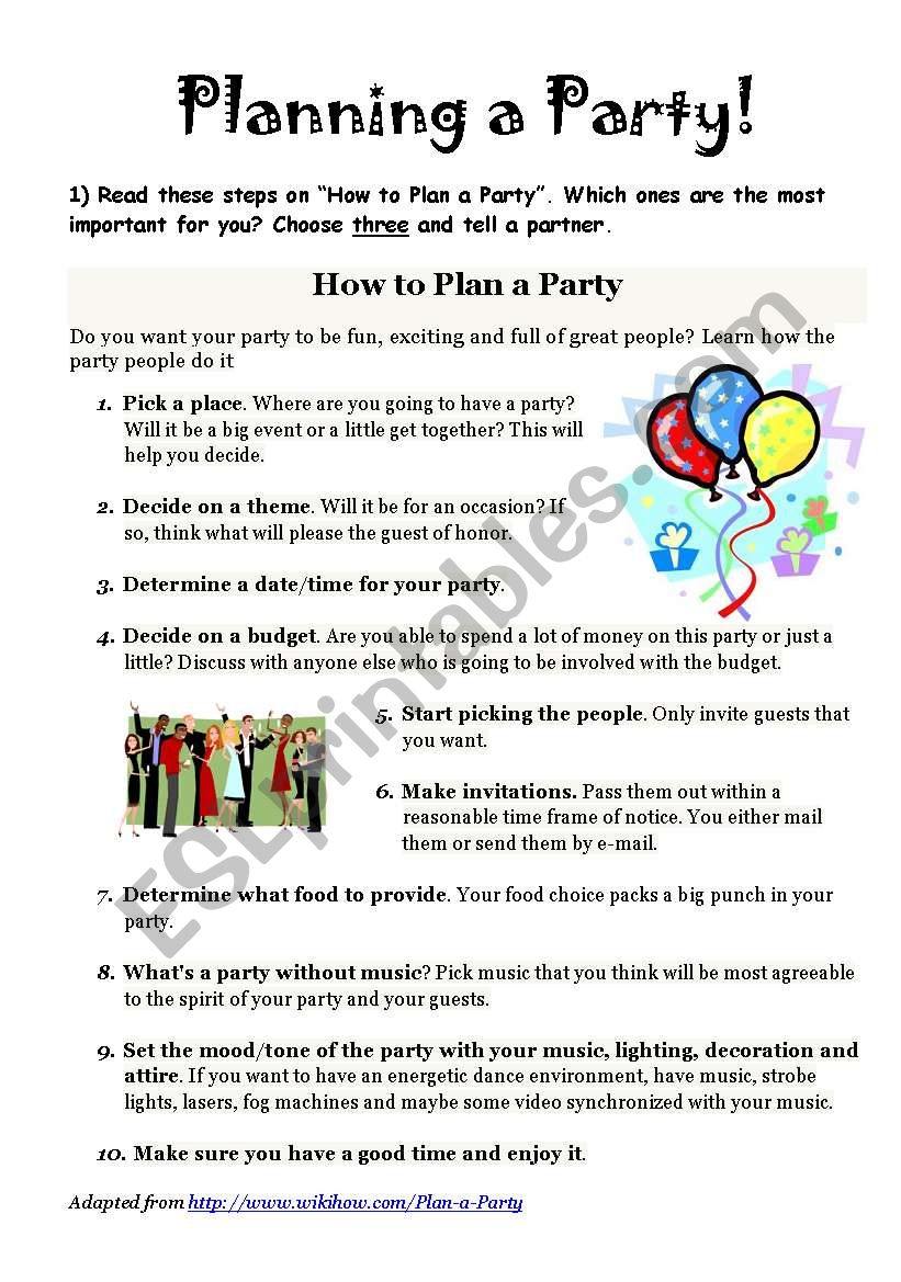 planning a party worksheet