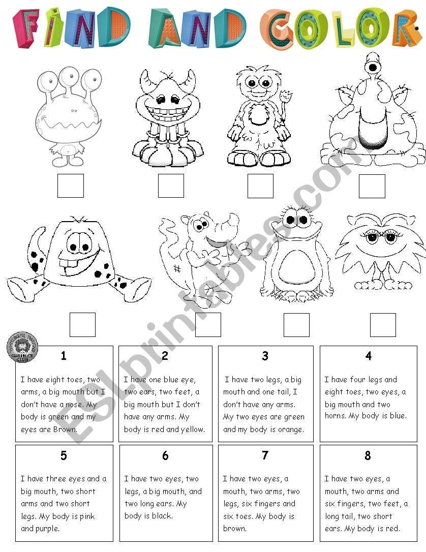 FIND THE MONSTER AND COLOR worksheet