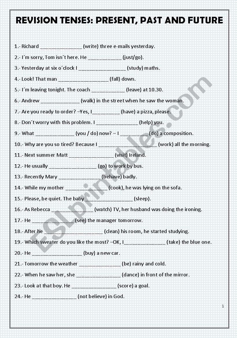 Revision Tenses Present Past And Future Esl Worksheet By Emece