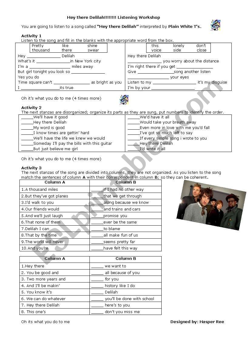 Hey there Delilah (song) worksheet