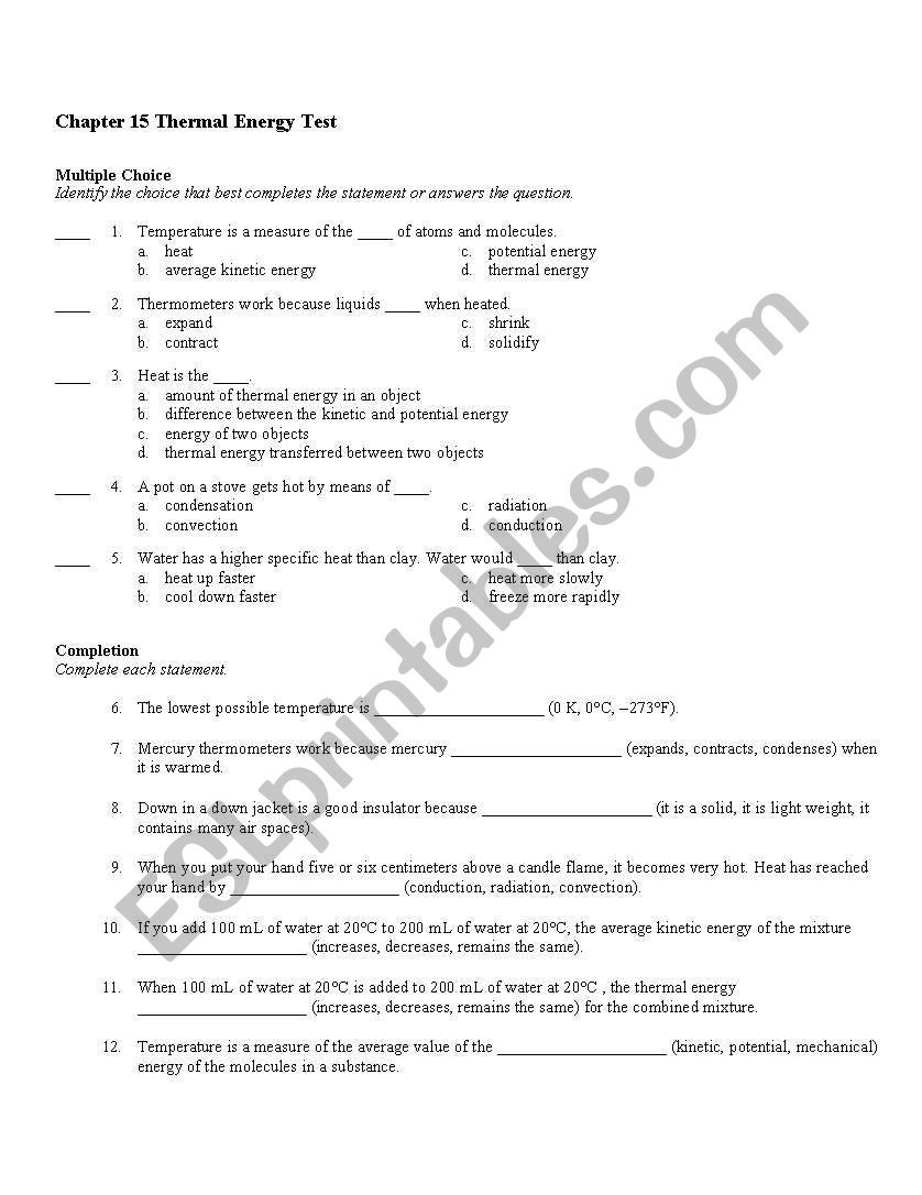English worksheets: Thermal Energy Test