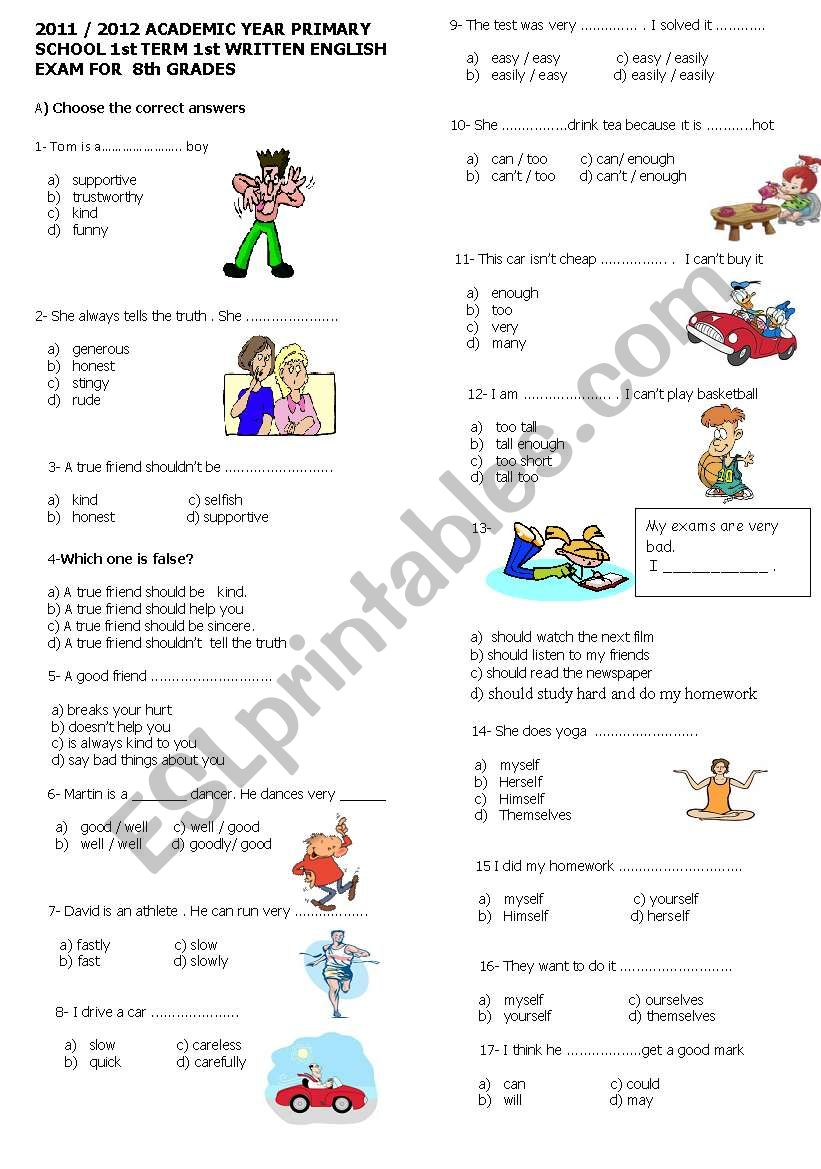 exam for 8th grade (1st exam) 2011-2012
