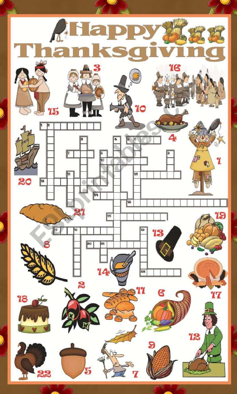Thanksgiving Crossword Esl Worksheet By Mafaldita2009