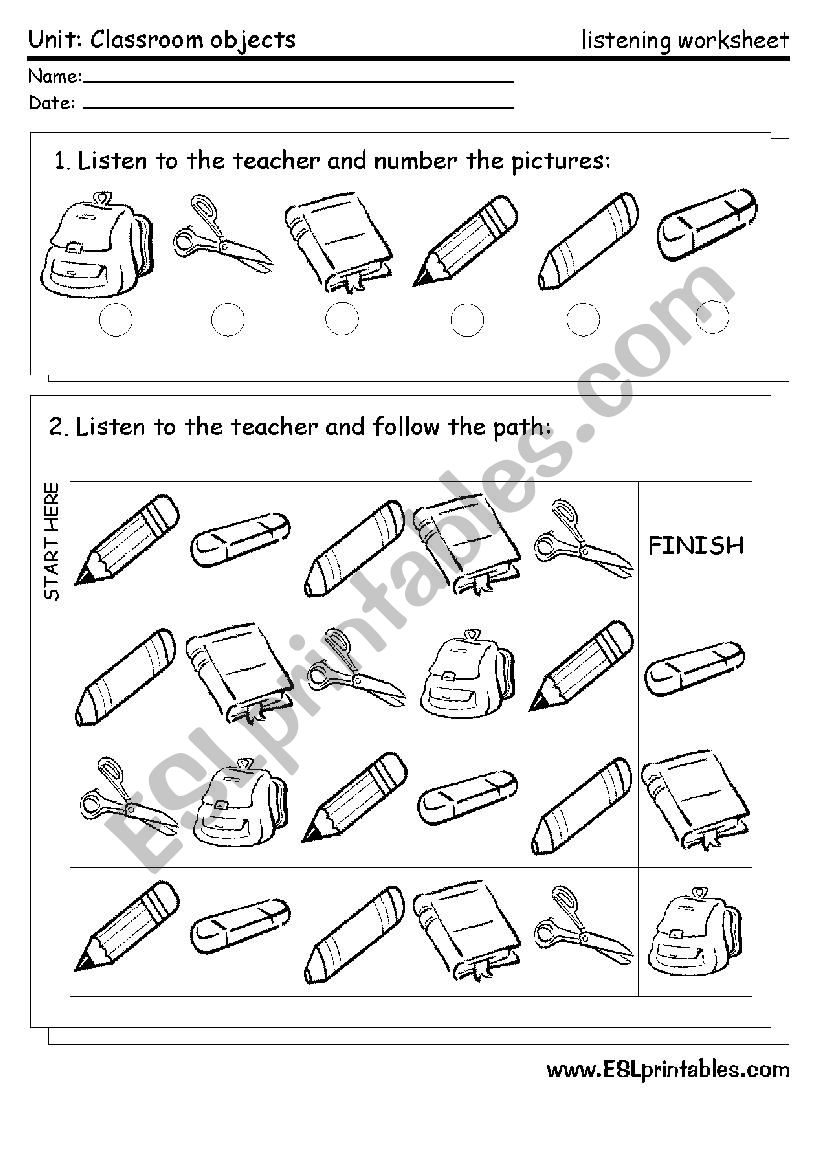 Classroom material: listening worksheet