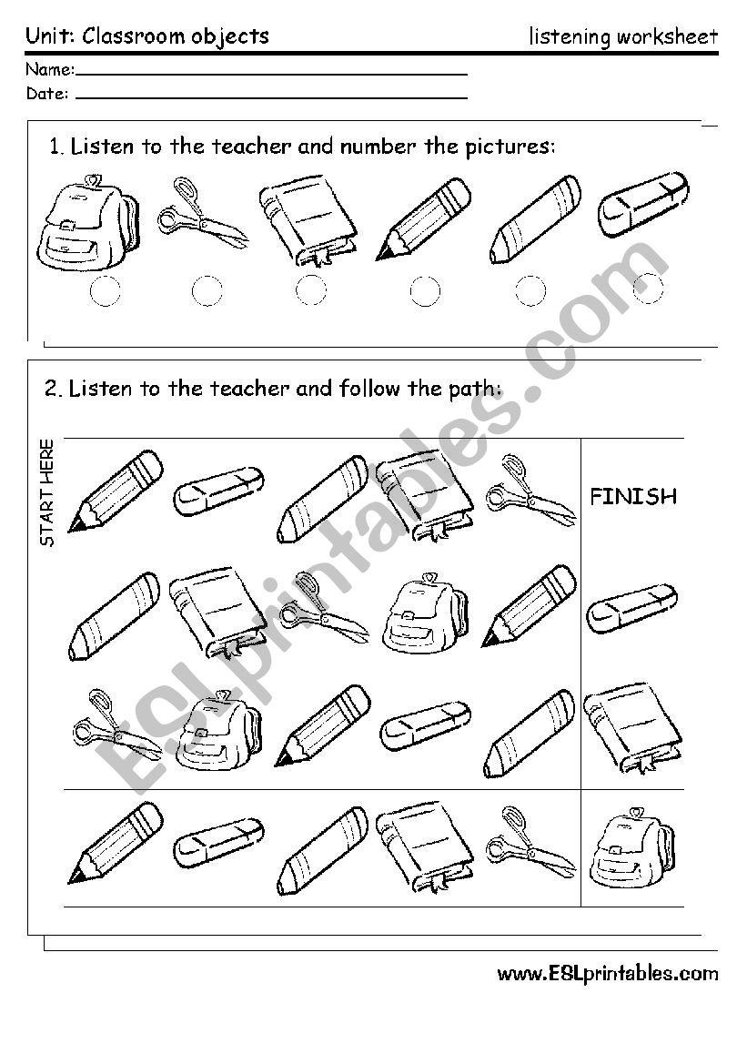 Classroom material: listening worksheet