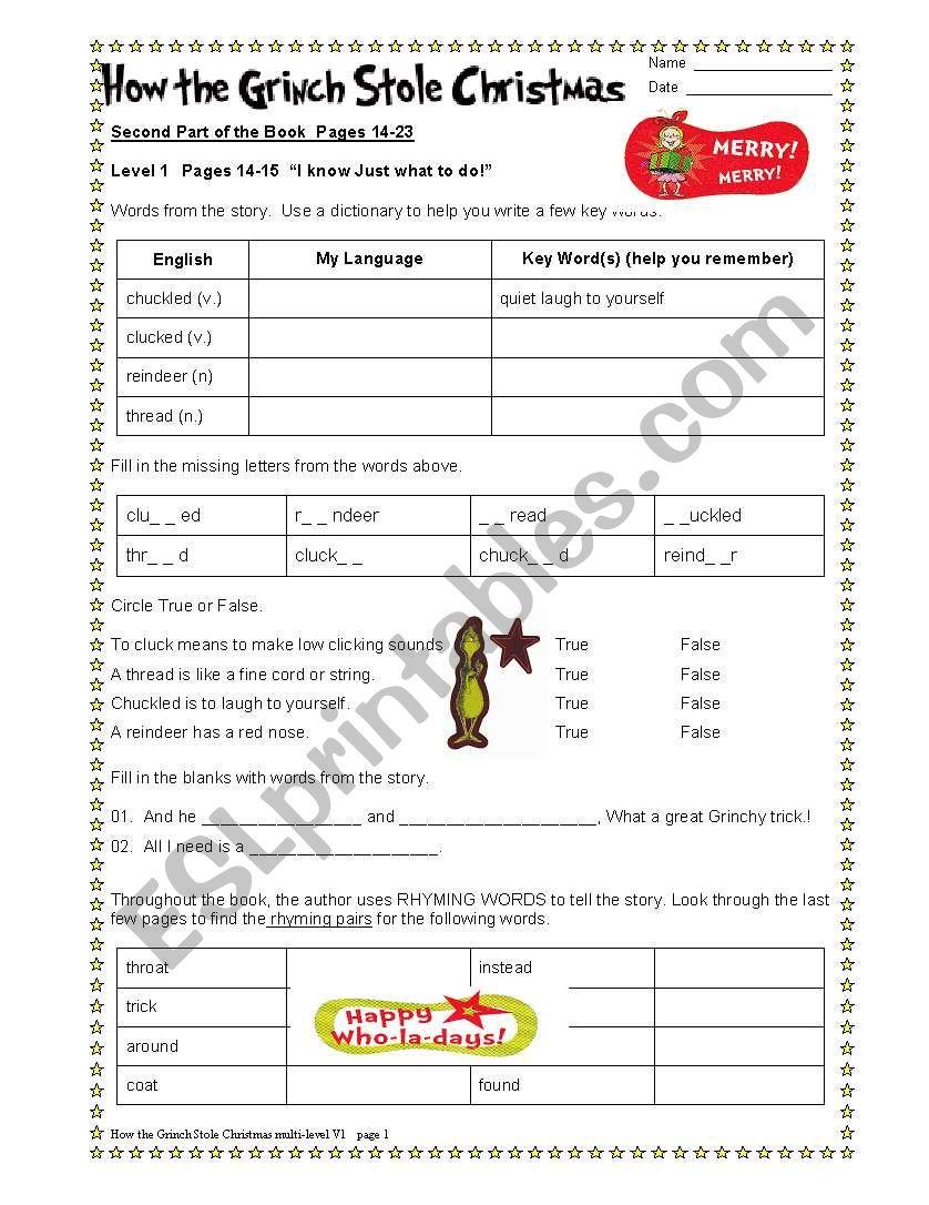 How the Grinch Stole Christmas Part 2/6 - ESL worksheet by dturner