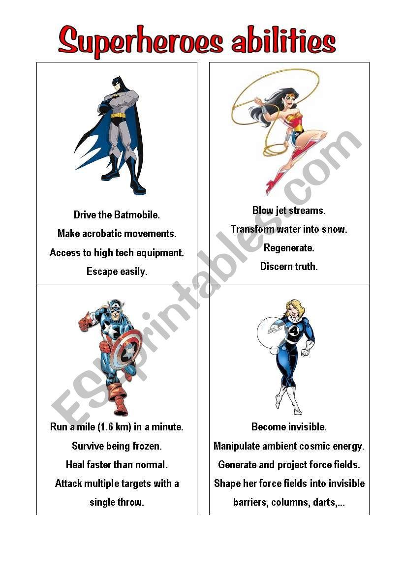 superheroes 2 worksheet