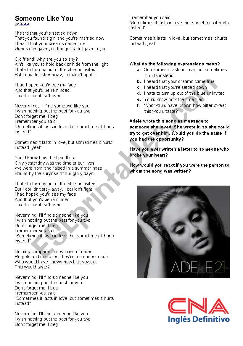 Someone like you - Adele - Second Conditional