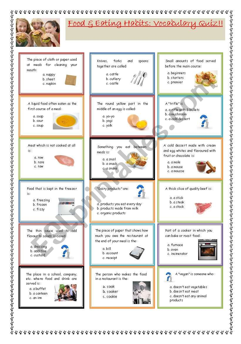 graphic about Printable Nutrition Quiz known as Foods Feeding on practices: Vocabulary Quiz! - ESL worksheet as a result of