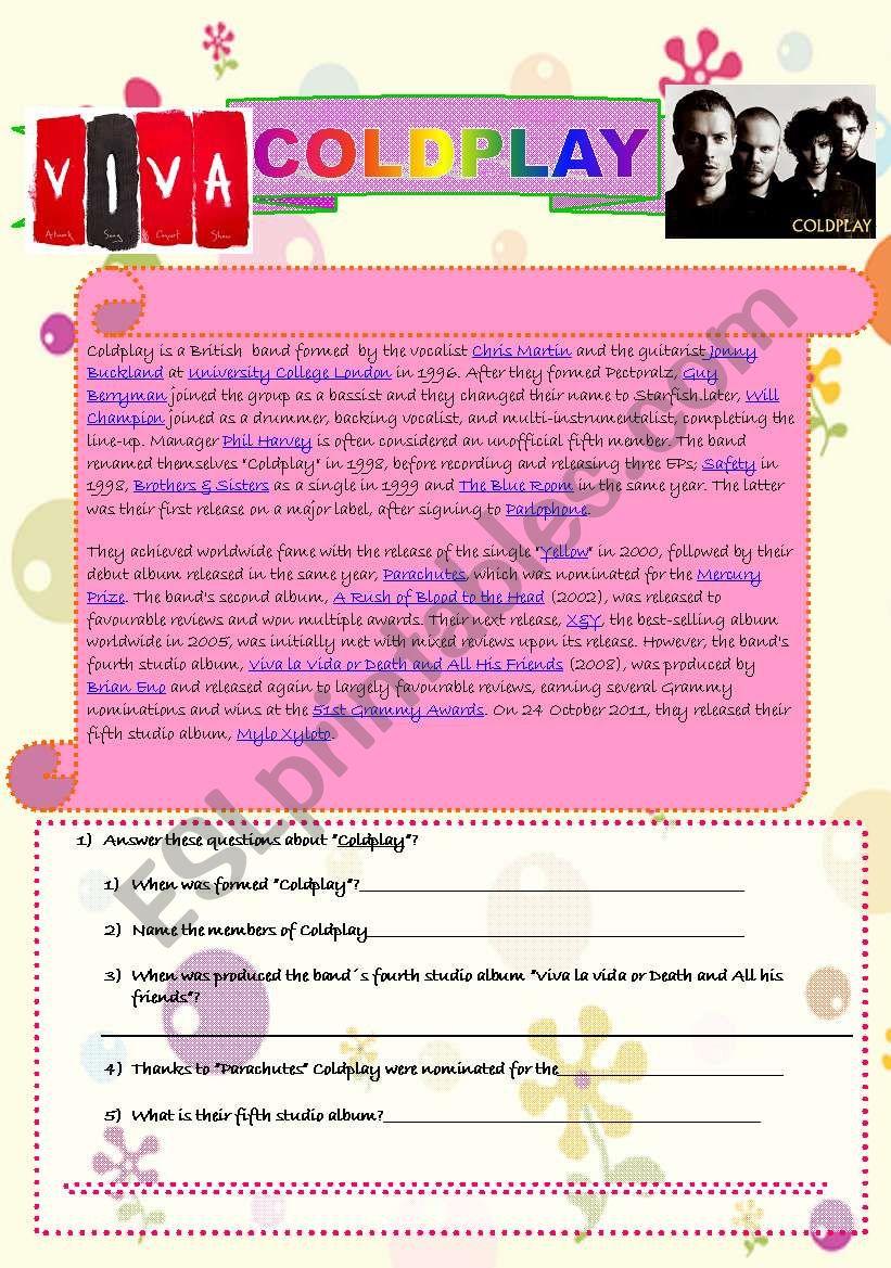 Coldplay reading worksheet