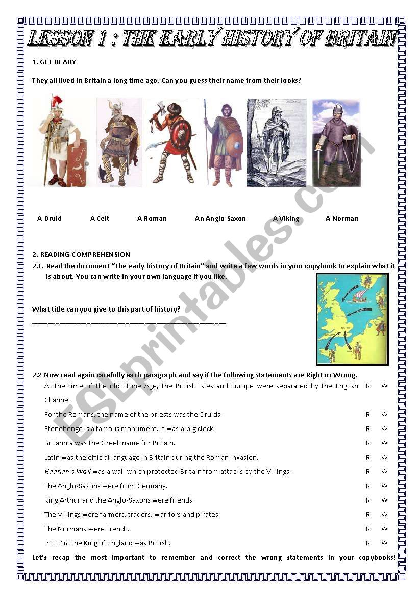 The early history of Britain worksheet