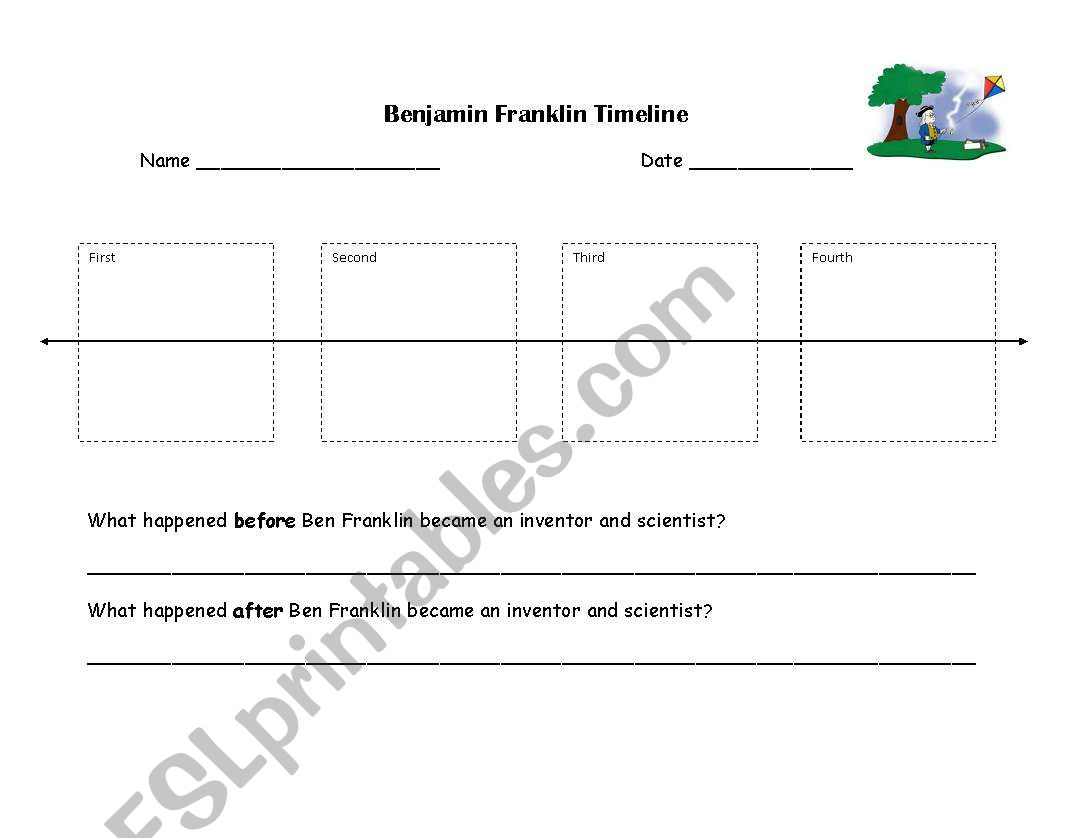 english worksheets  benjamin franklin timeline