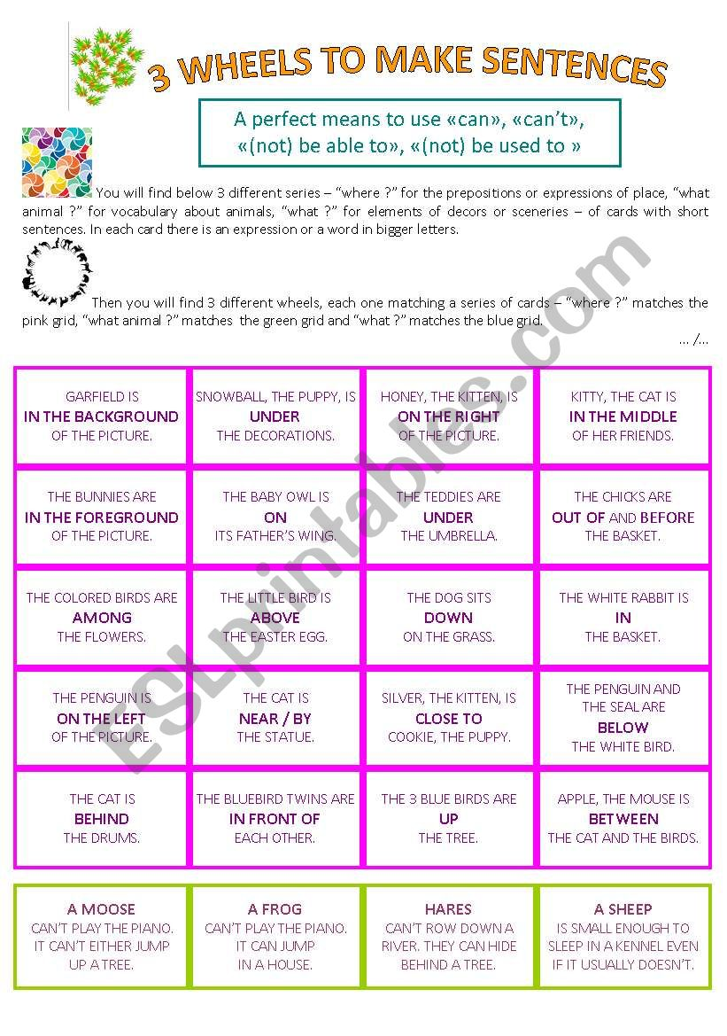 Make sentences with a game worksheet