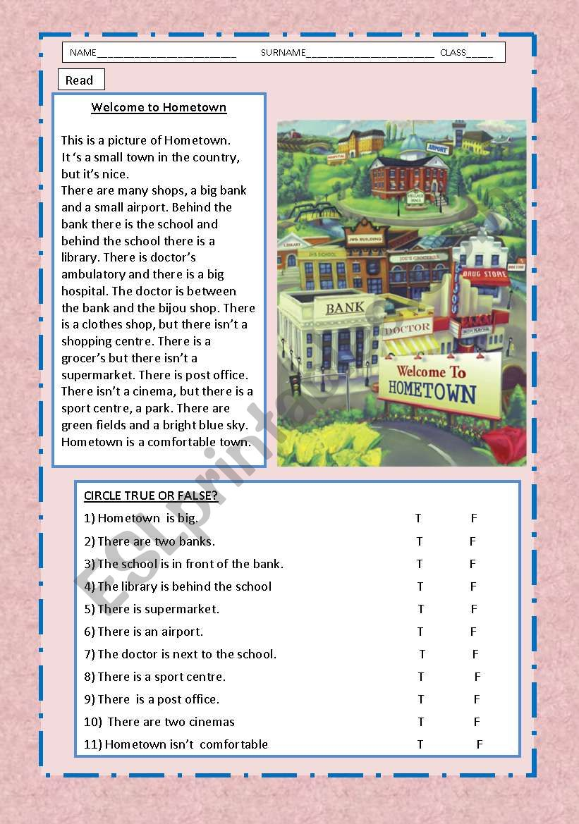 Hometown  description worksheet