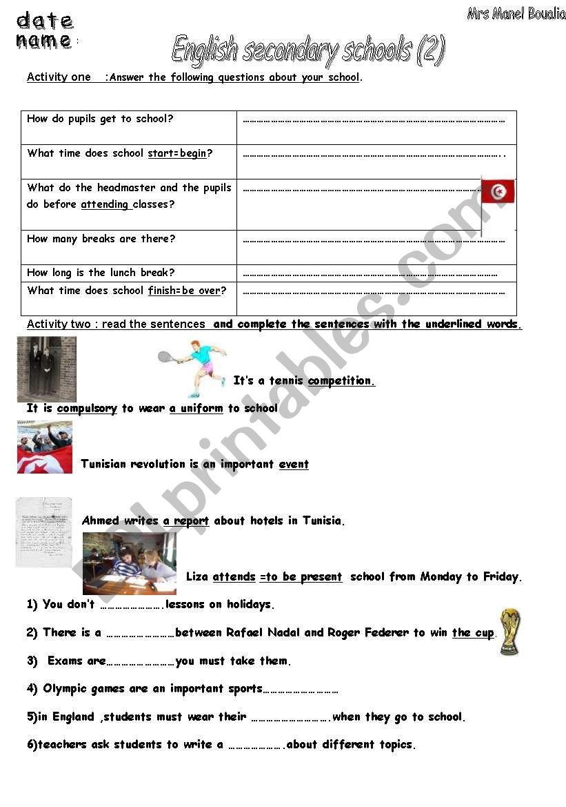 english secondary school 2 esl worksheet by miss manal. Black Bedroom Furniture Sets. Home Design Ideas