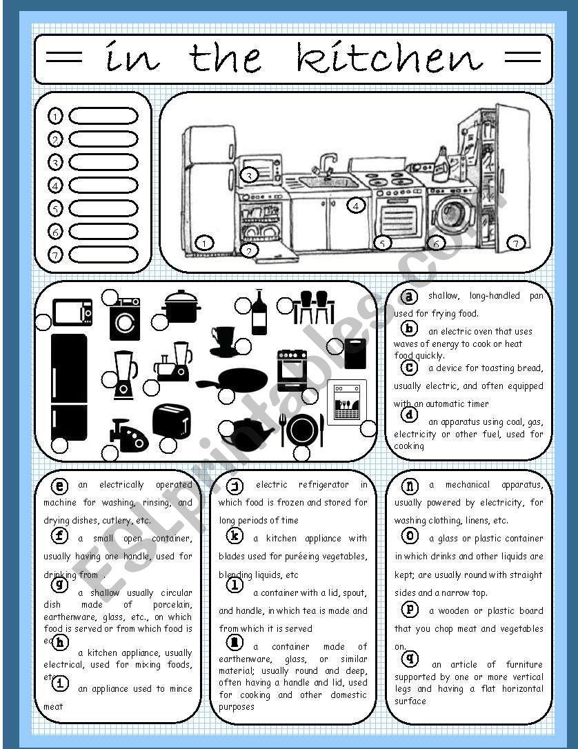 In the kitchen (1/4) worksheet
