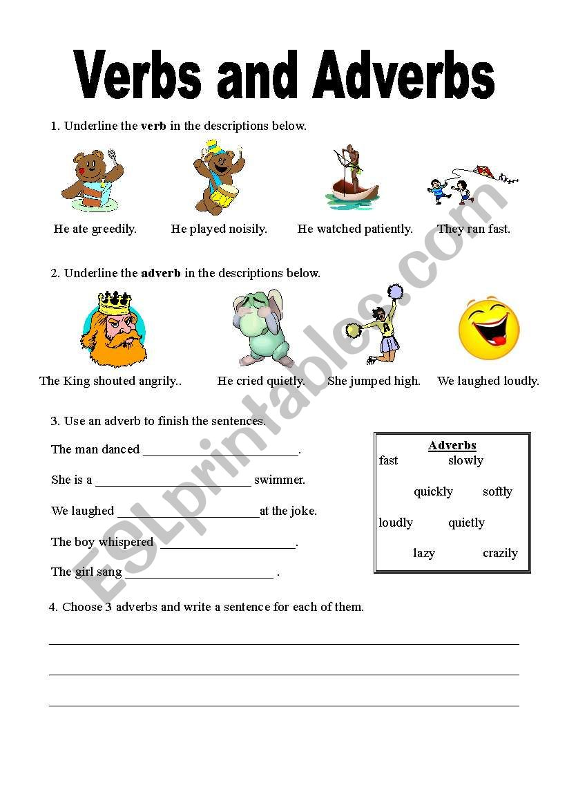 verbs and adverbs worksheet
