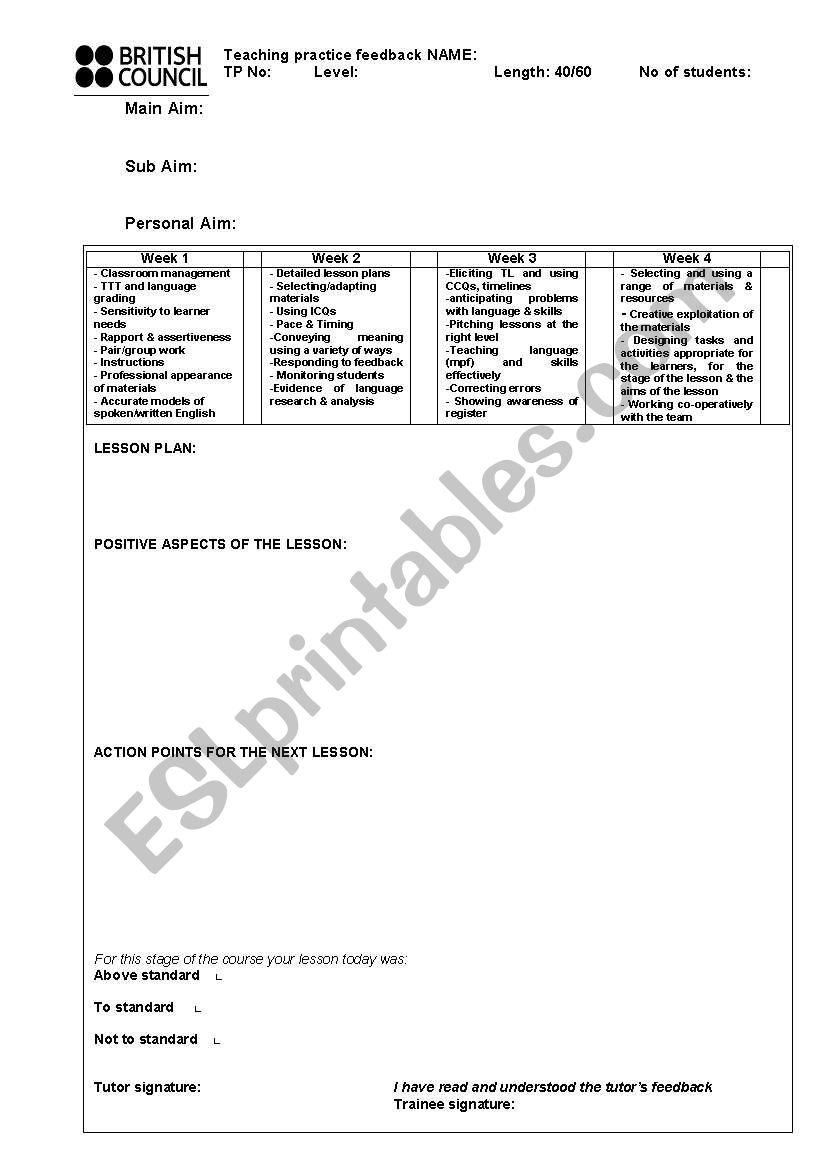 Celta Format Lesson Plan Template Esl Worksheet By Nickyg