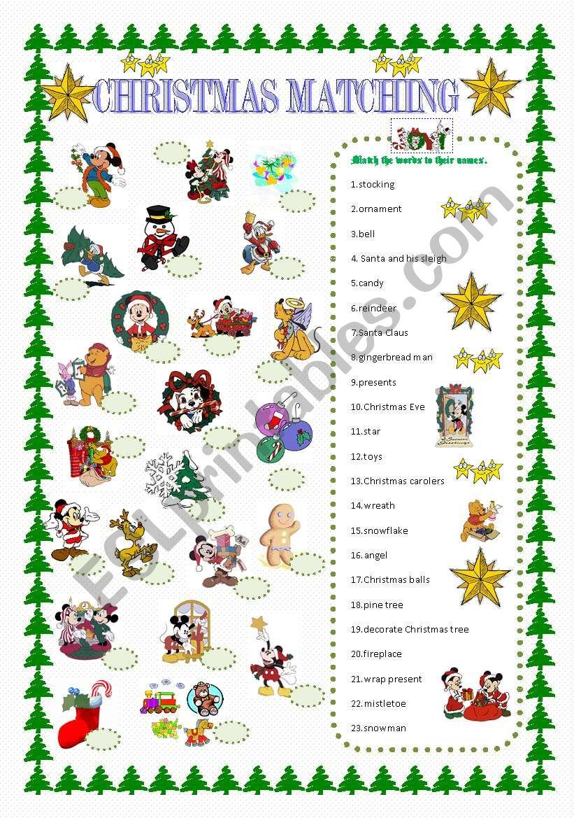 Christmas matching worksheet