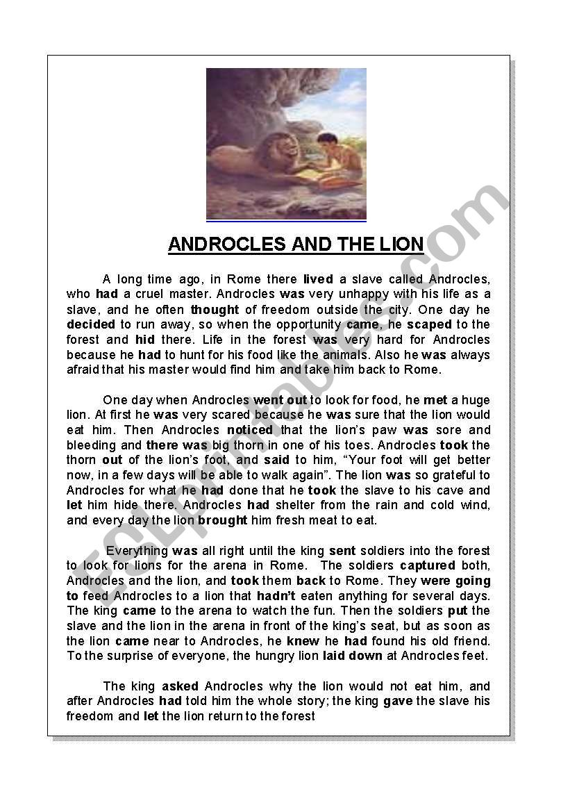 ANDROCLES AND THE LION worksheet