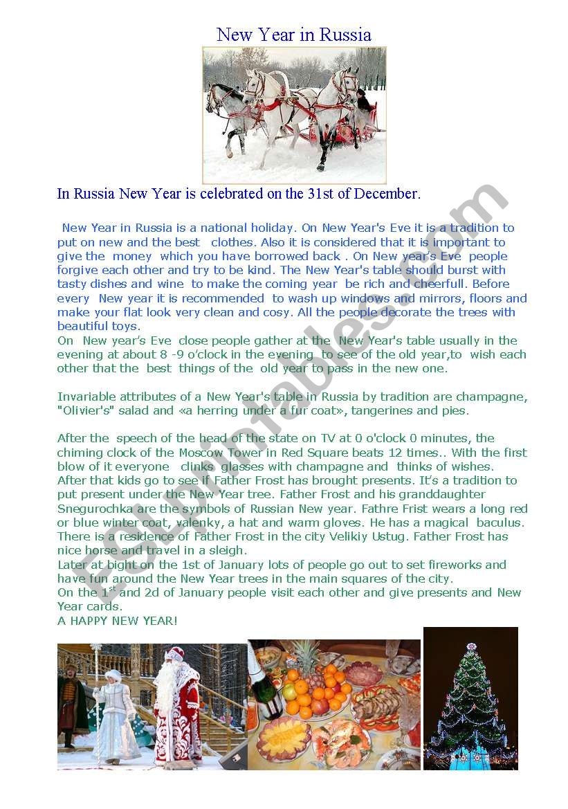 New Year in Russia worksheet