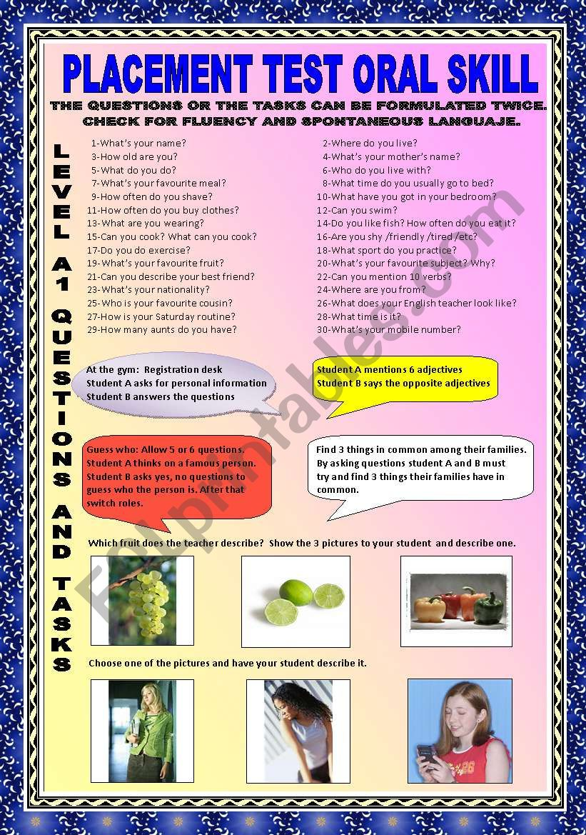Placement test oral skill Level A1 (1/3)