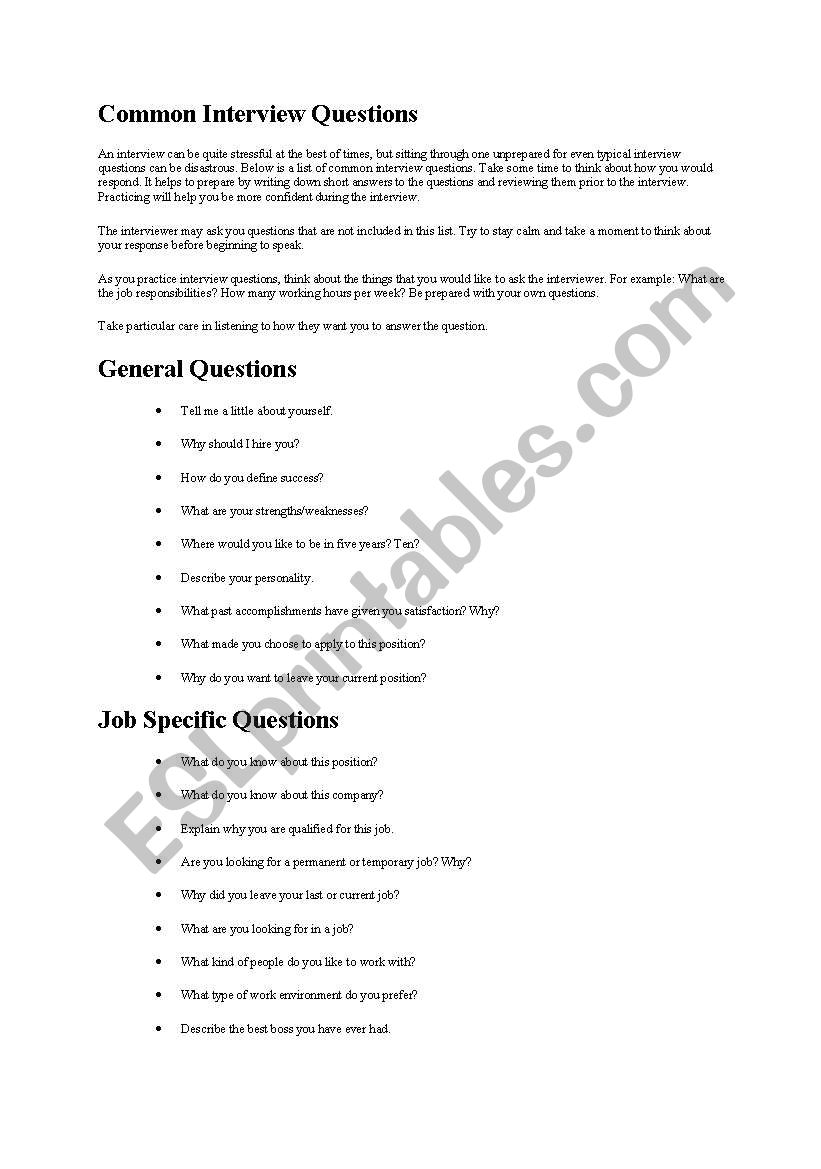 common interview questions worksheet