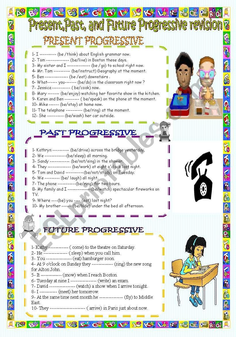 Present,Past,and Future progressive revision.( key included)