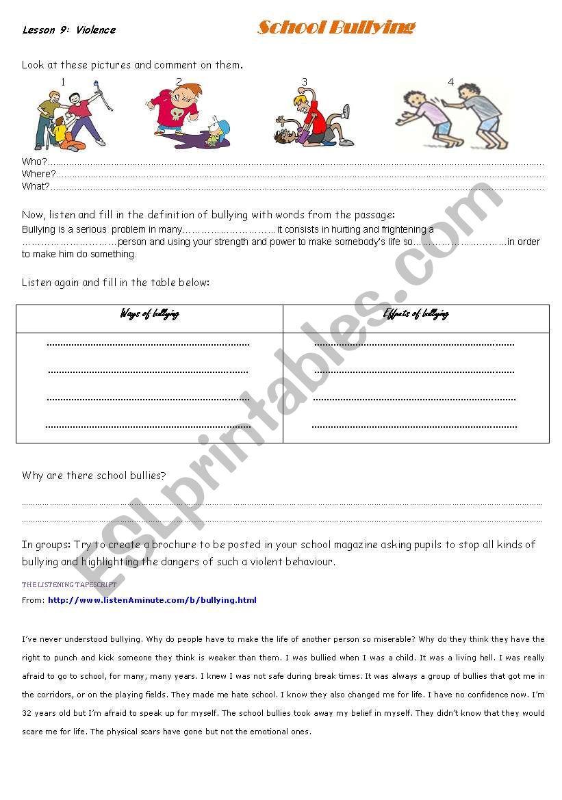 school violence worksheet