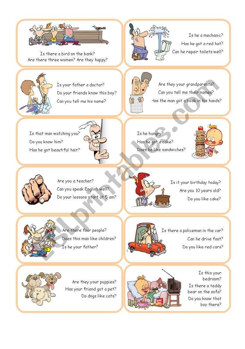 Short Answer Cards - Set 1 worksheet