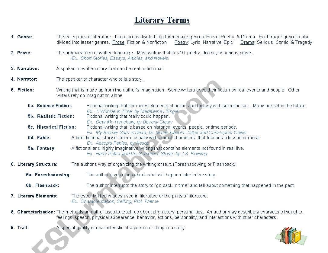 Worksheets Literary Terms Worksheet literary terms esl worksheet by jenlundberg worksheet