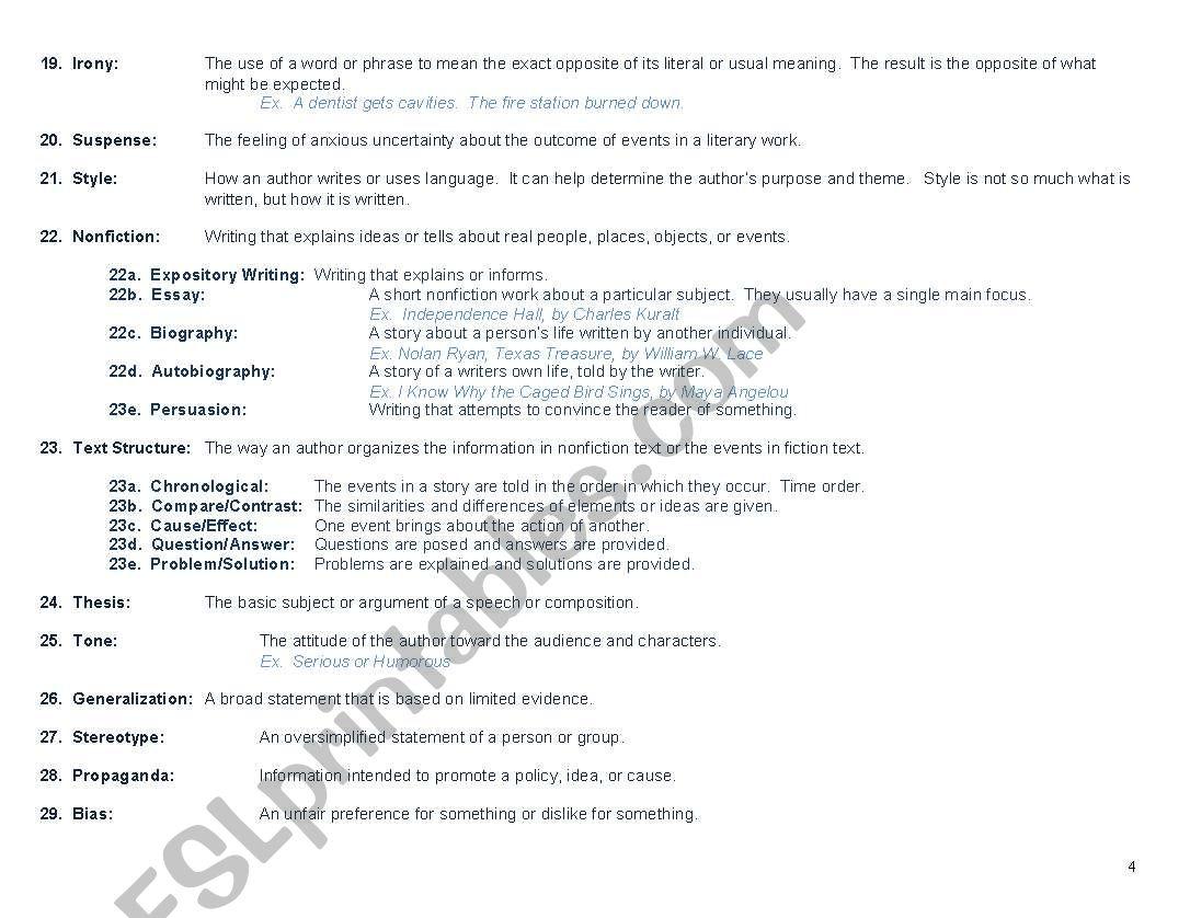 Literary Terms - ESL worksheet by jenlundberg