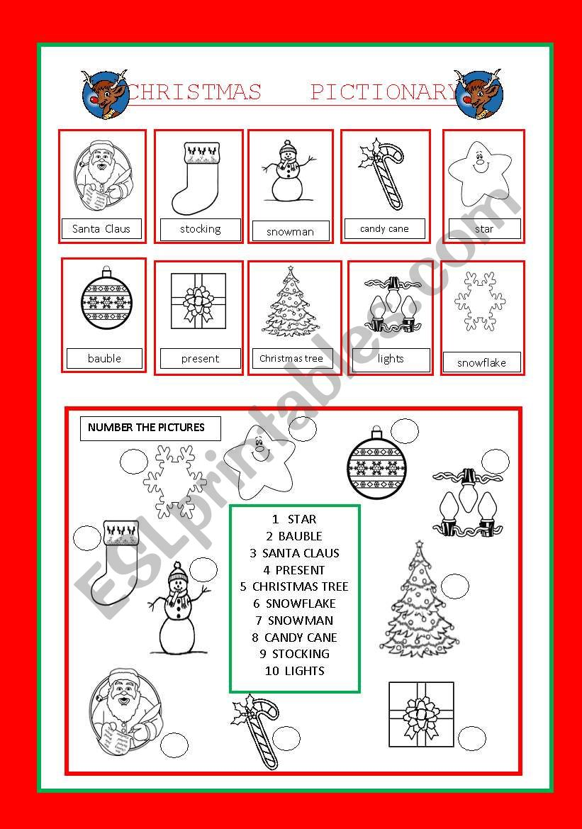 CHRISTMAS PICTIONARY AND MATCHING ACTIVITIY