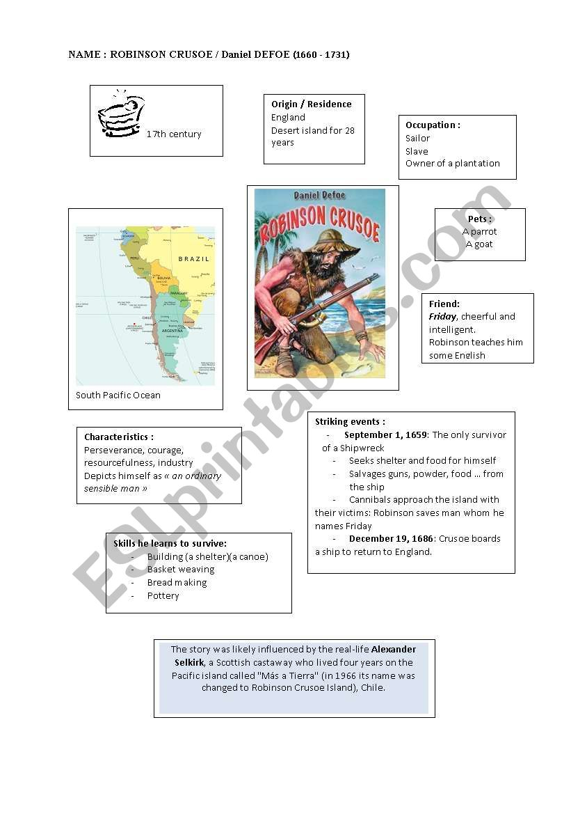 Robinson CRUSOE worksheet