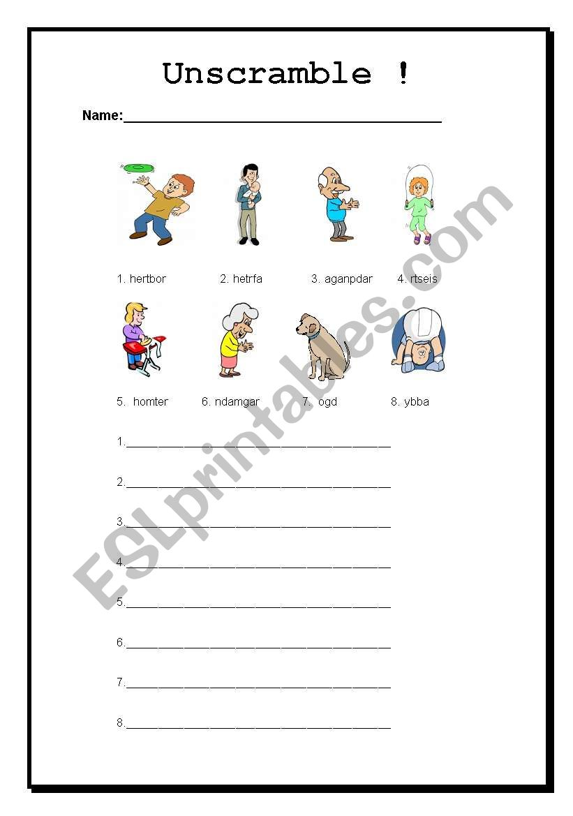 Family Unscramble - ESL worksheet by Jennifer