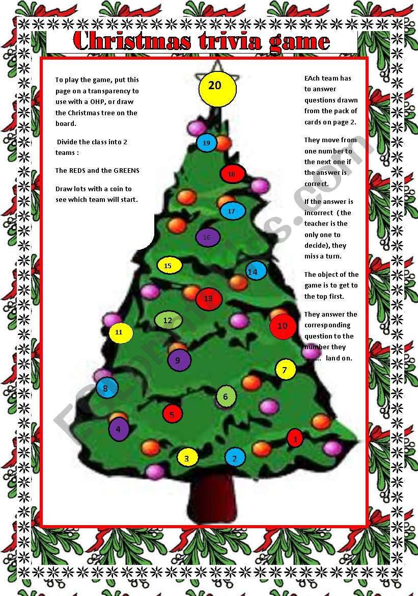 Christmas Trivia Game Question Cards On Page 2 To Go With The
