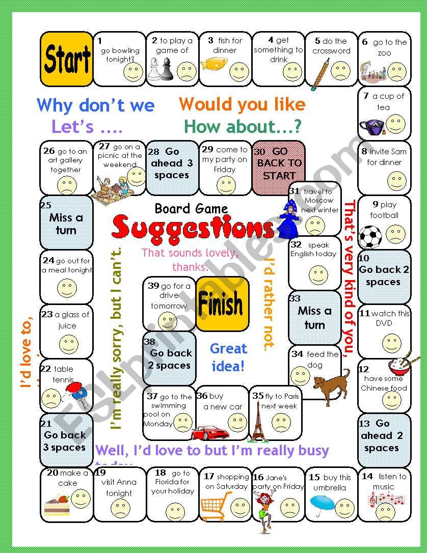 Making Suggestions Boardgame (Why don´t we..? Lets.. Would you like...? How about ...?)