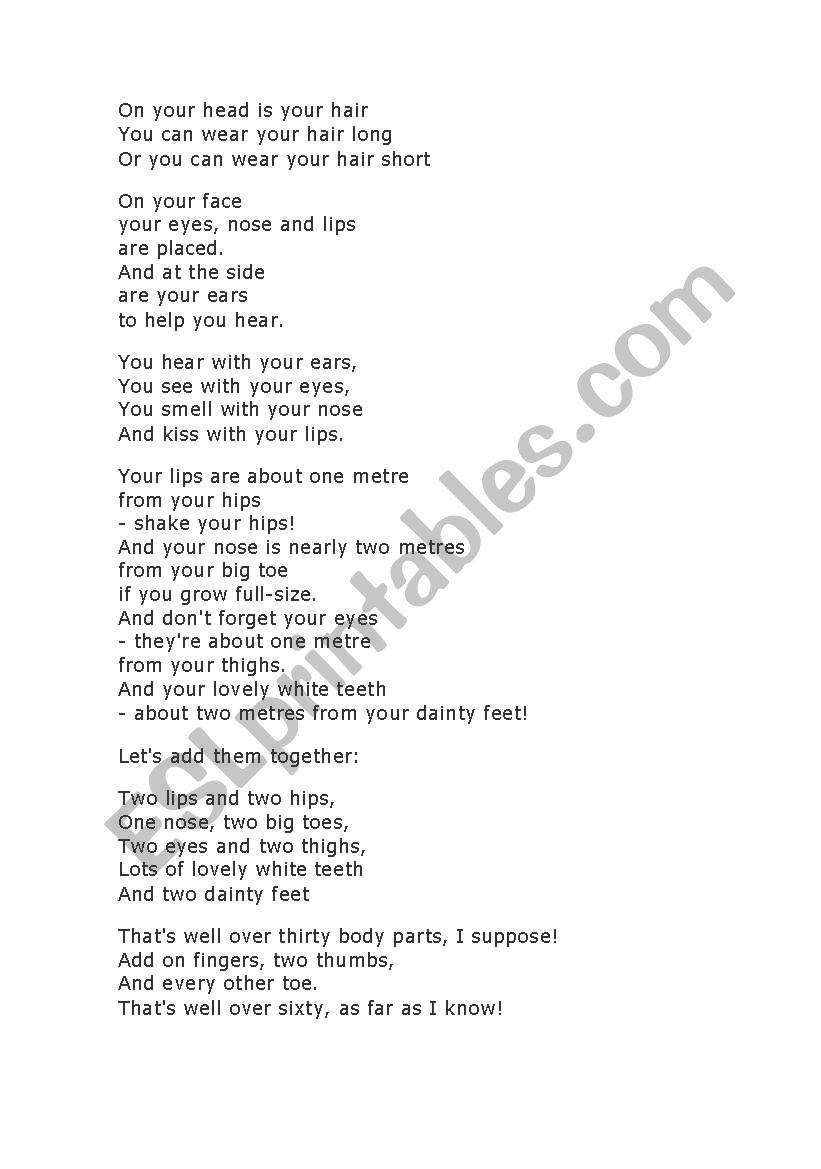 Body Parts Poem worksheet