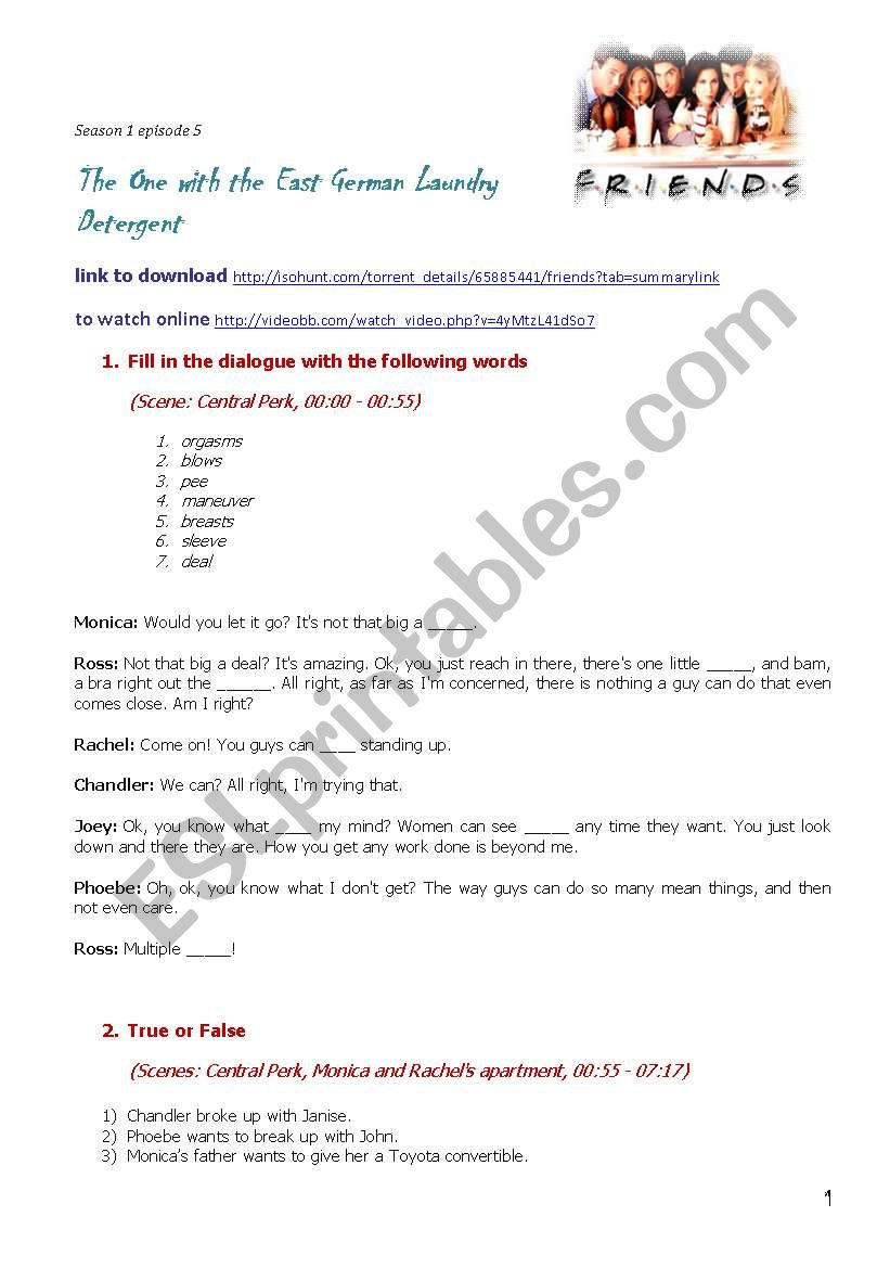 Friends Season 1 Episode 5 The One With The East German Laundry Detergent Esl Worksheet By Yulikatinkie